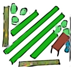 Unten und links: Blumenwiese. Grüne streifen: Bambus. Rund: Bäume Braun: Holzunterstand.